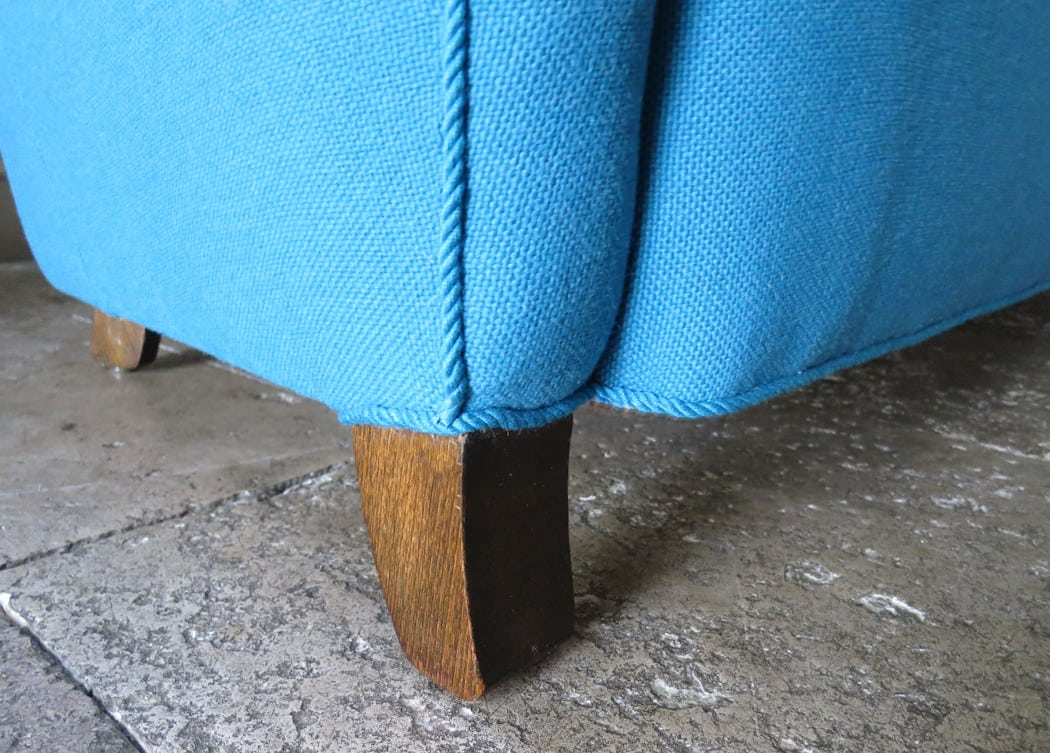 High back Danish sofa wool blue 1950's