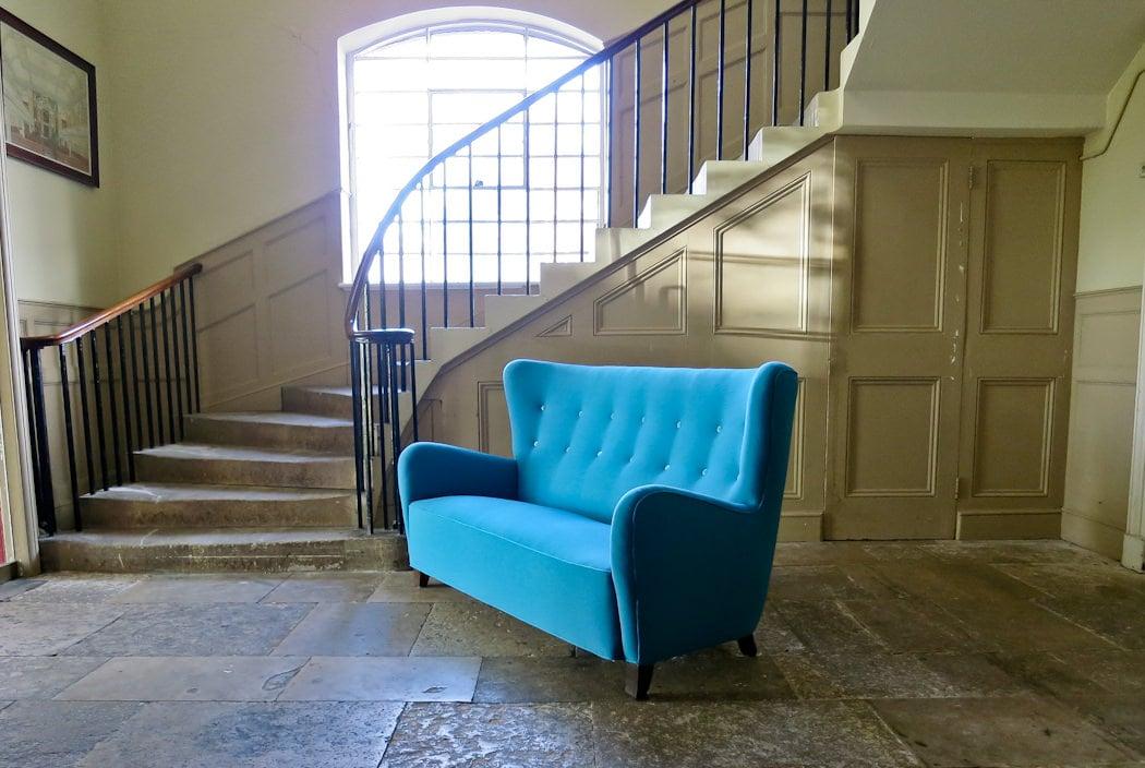Danish sofa blue wool high back 1940's