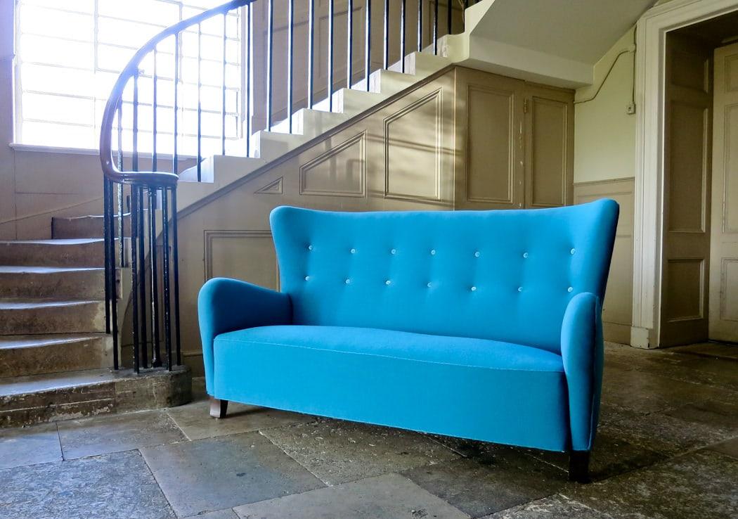 Danish sofa high back wool blue beech legs 1950's
