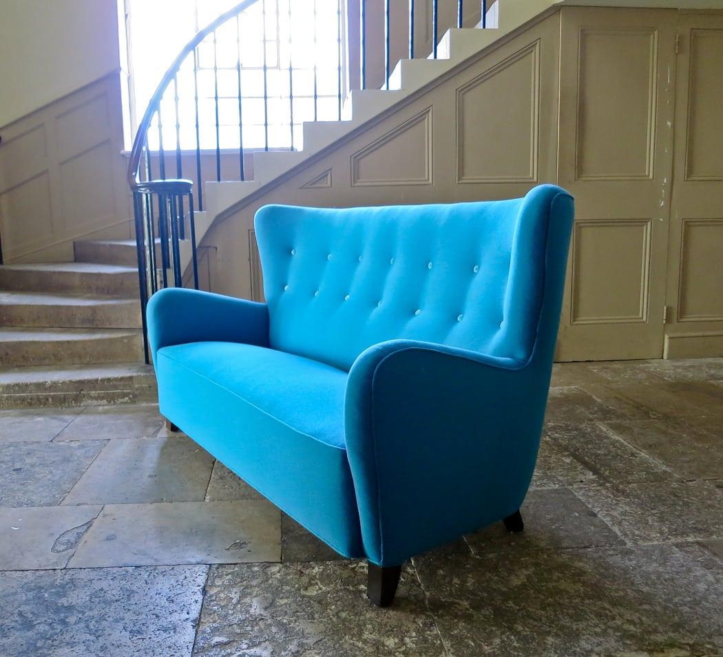 Danish sofa high back blue wool high back 1940's