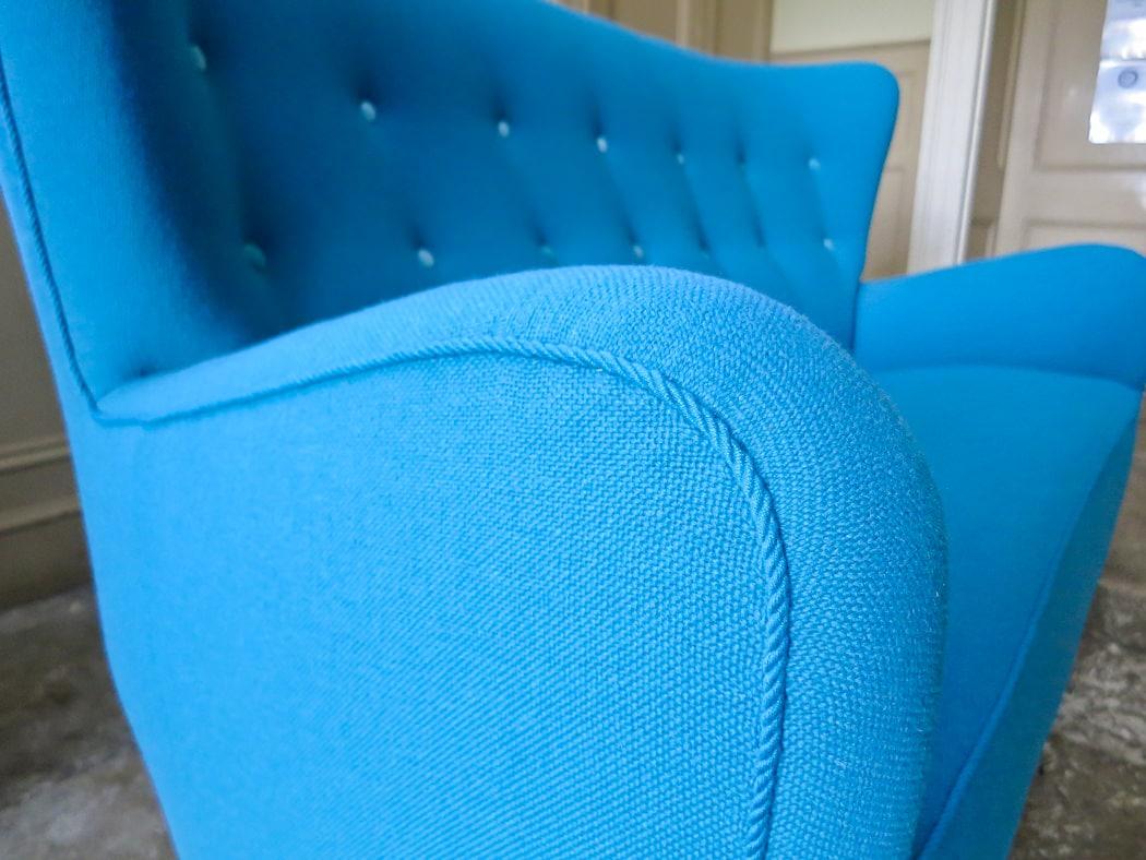 Danish sofa organic high back wool upholstery