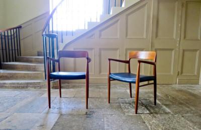 Niels Moller armchair Danish leather & teak mid century 1950's