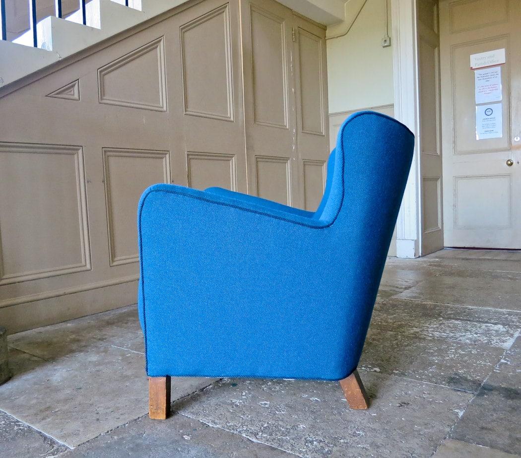 Danish armchair fritz Hansen armchair wool blue 1940's