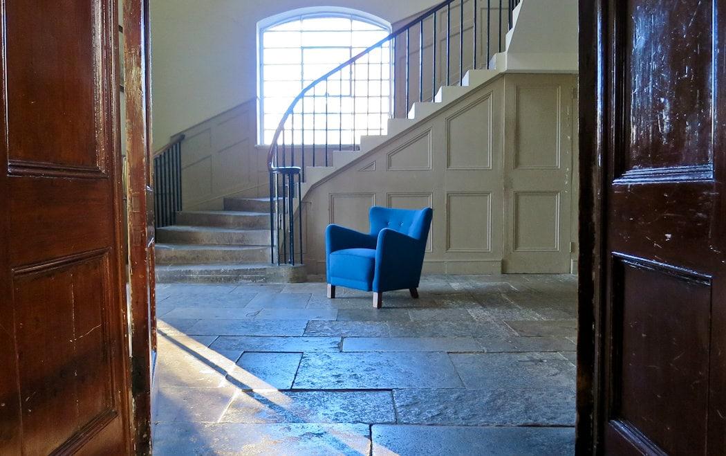 Danish armchair Fritz Hansen button back blue wool m1940's