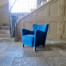 Fritz Hansen Danish armchair blue wool velvet 1940's