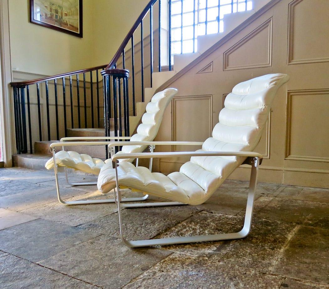 Mid century leather chair Ilmari Lappalainen Pulkka chair