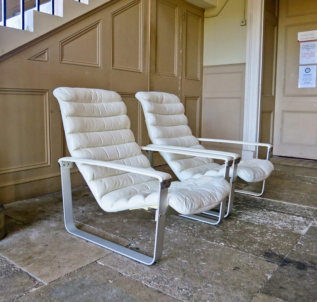 Mid century lounge chair leather Ilmari Lappalainen Pulkka chair