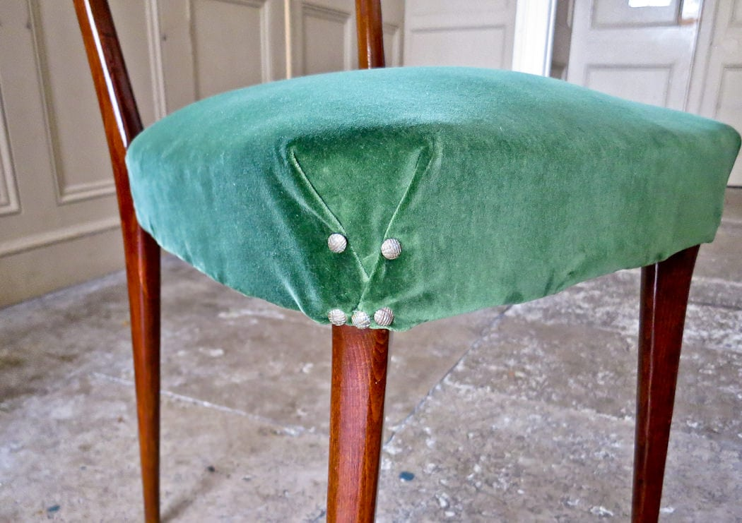 Mid century dining chairs velvet green Italian 1950's