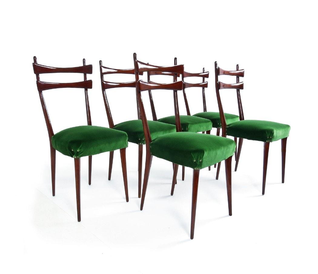 Italian dining chairs 1950's mid century green velvet