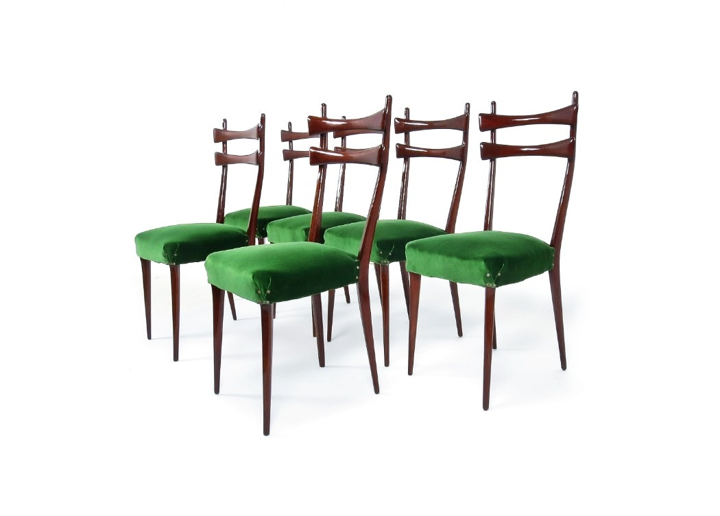 Velvet dining chairs Italian design 1950s