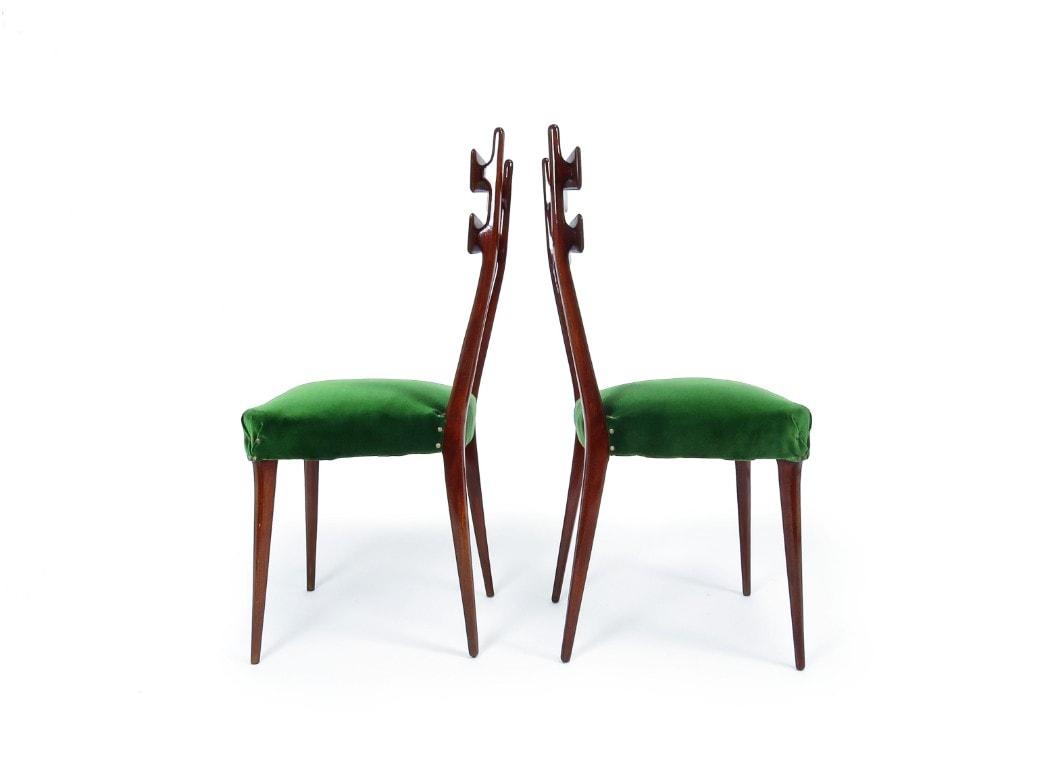 Italian mid century dining chairs green velvet 1950's
