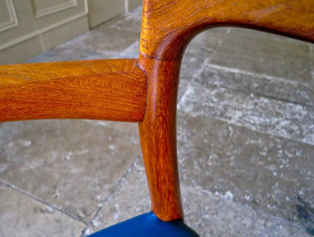 Danish armchair Niels Moller leather teak 1950's