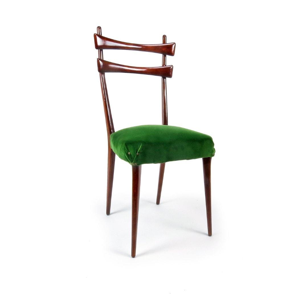 talian dining chairs 1950's velvet