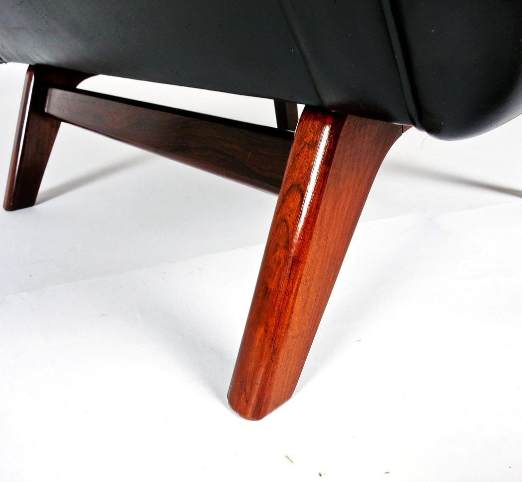 mid century armchair leather rosewood Leif Hansen Danish 1950's