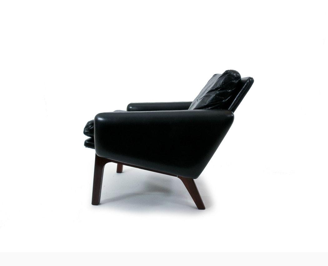 Mid century armchair rosewood leather Leif Hansen Danish 1950's