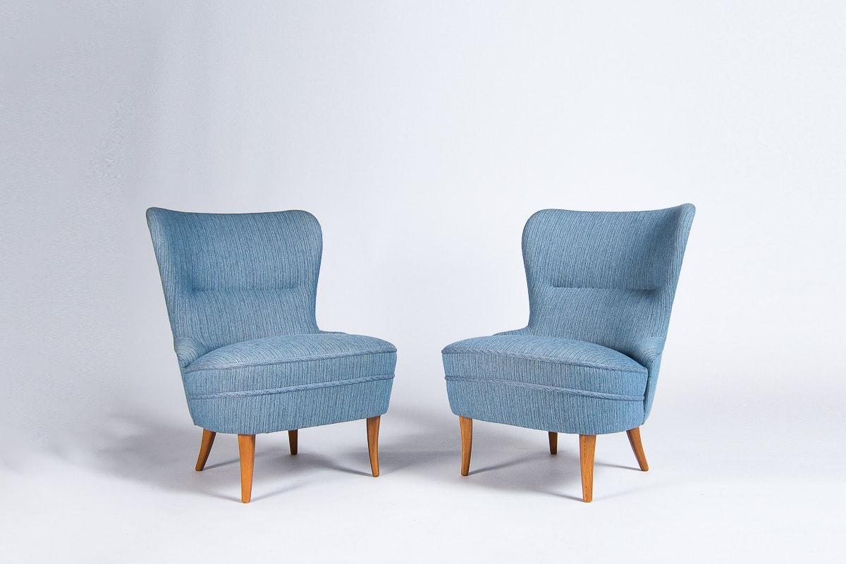 Danish furniture armchair oak wool blue 1950's London