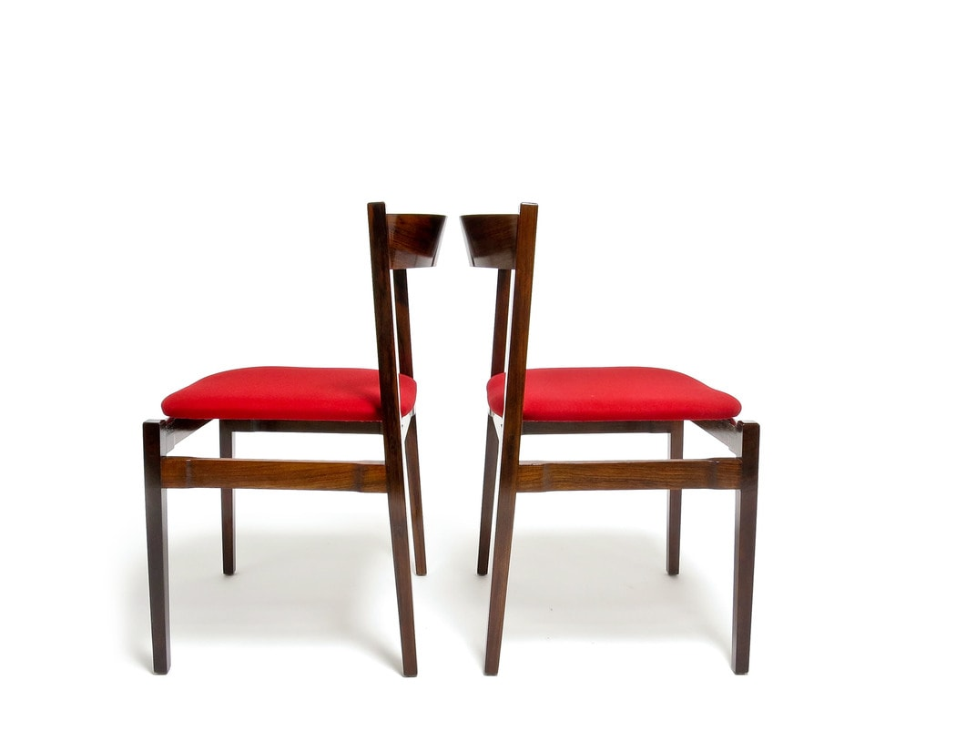 Frattini model 104 Cassina rosewood dining chairs mid century 1960's