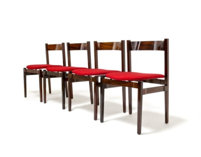 Gianfranco Frattini dining chairs rosewood red upholstery Italian design 1960's