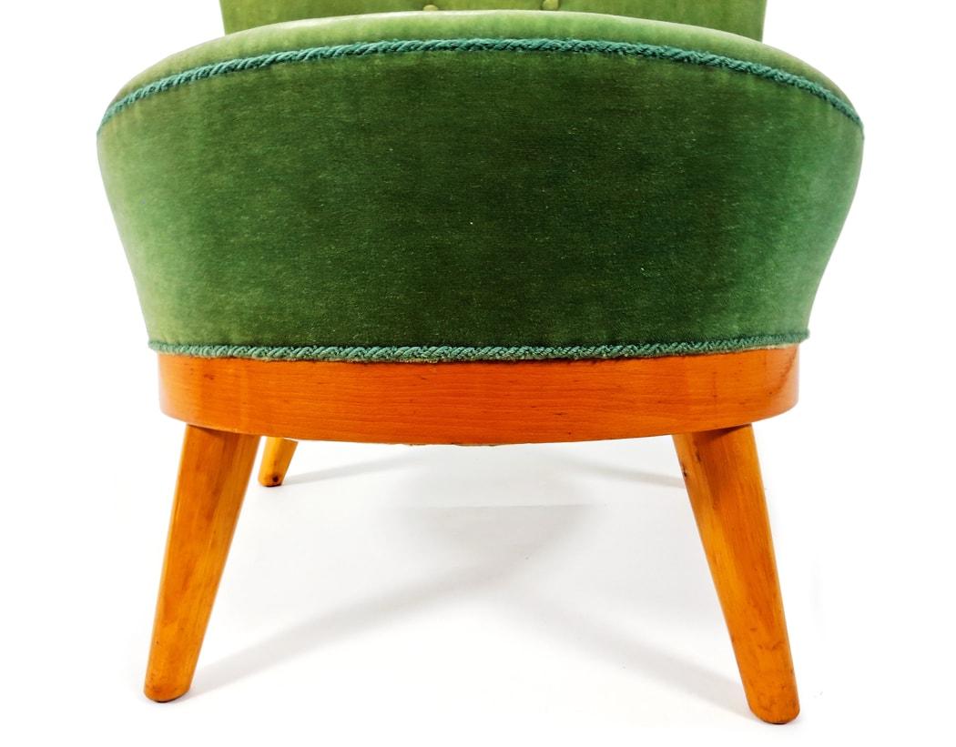 Mid century furniture easy chair stool green velvet 1950's