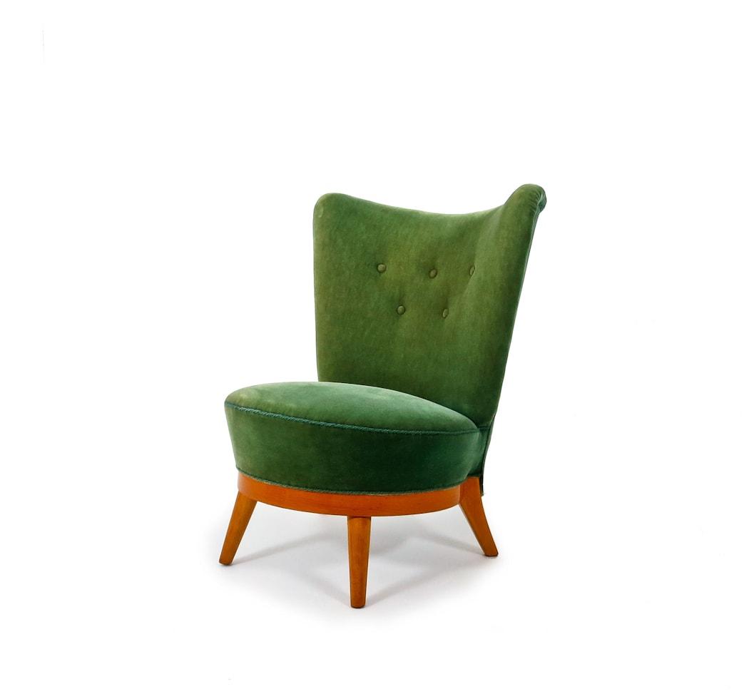 Mid century easy chair stool green velvet Swedish 1950's