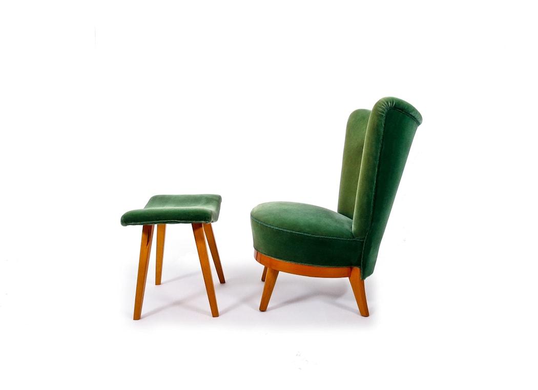 Mid century lounge chair stool Swedish 1950's