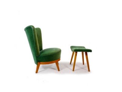 Swedish chair mid century furniture stool green velvet 1950's
