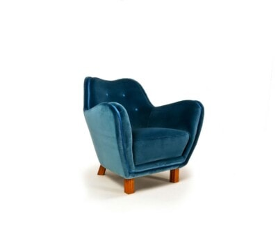 Swedish furniture armchair mid century design blue velvet London 1950's