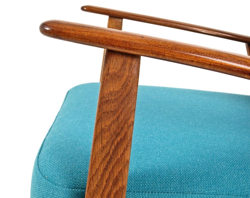 Mid century armchair blue wool Teak oak Danish chair London 1950's