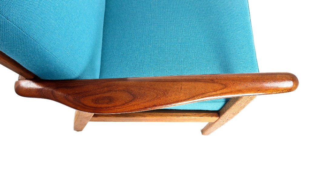 Mid century armchair London teak oak wool Danish furniture