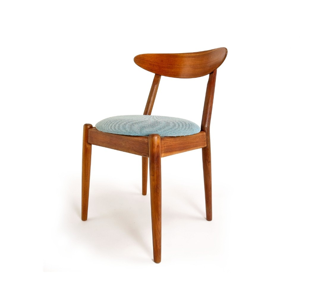 Svensson fabric Danish dining chairs Teak Jeppesen 1950's