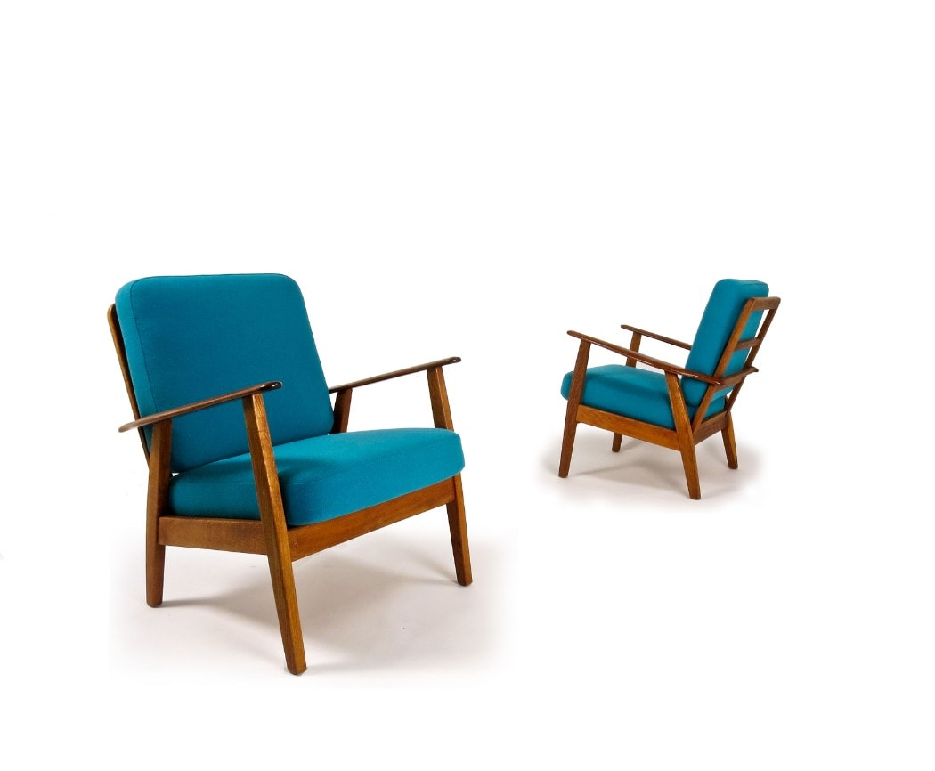 Danish chair mid century armchair blue wool London teak oak 1950's