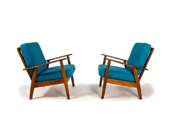 Danish armchair teak wool oak mid century 1950's