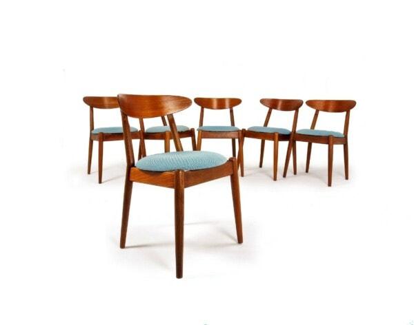 Teak dining chairs Danish mid century design London 1950's