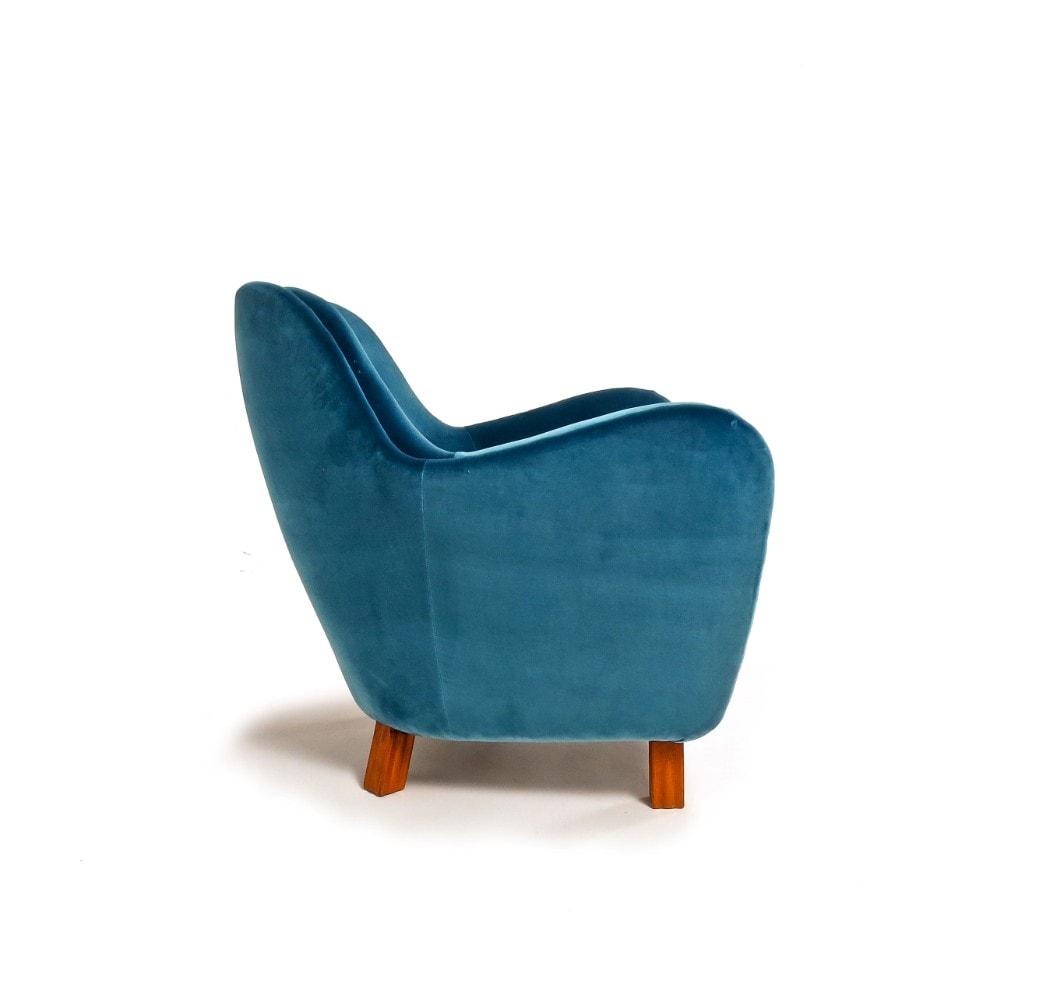 Mid century modern furniture London armchair blue velvet 1950's