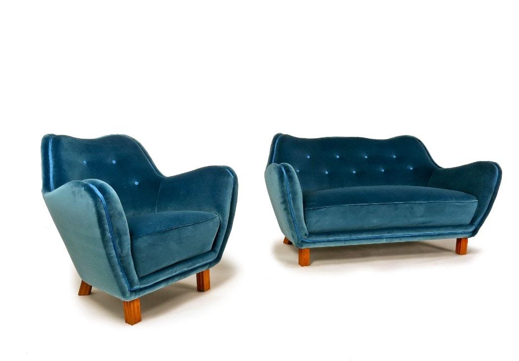 Blue Velvet armchair London mid century modern
