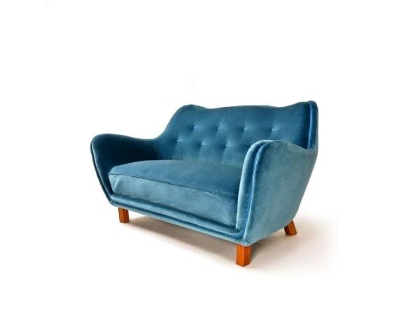 Mid century sofa Swedish velvet London