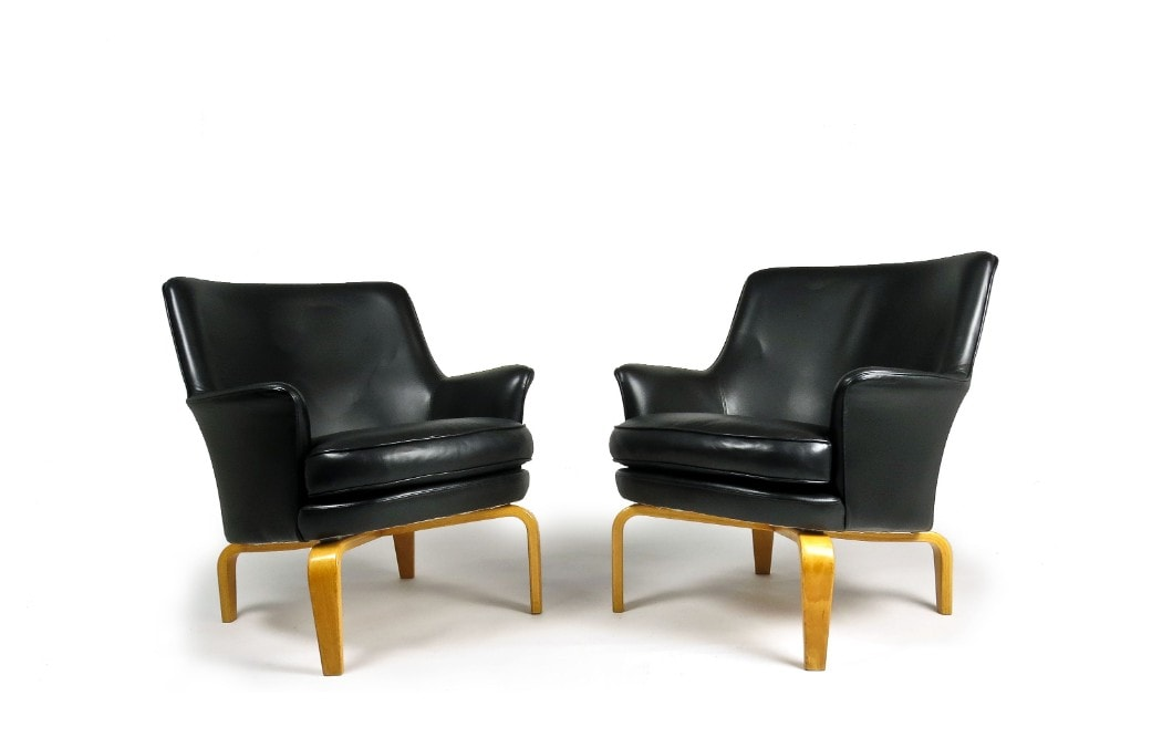 Swedish furniture Norell armchair Leather mid century 1960's