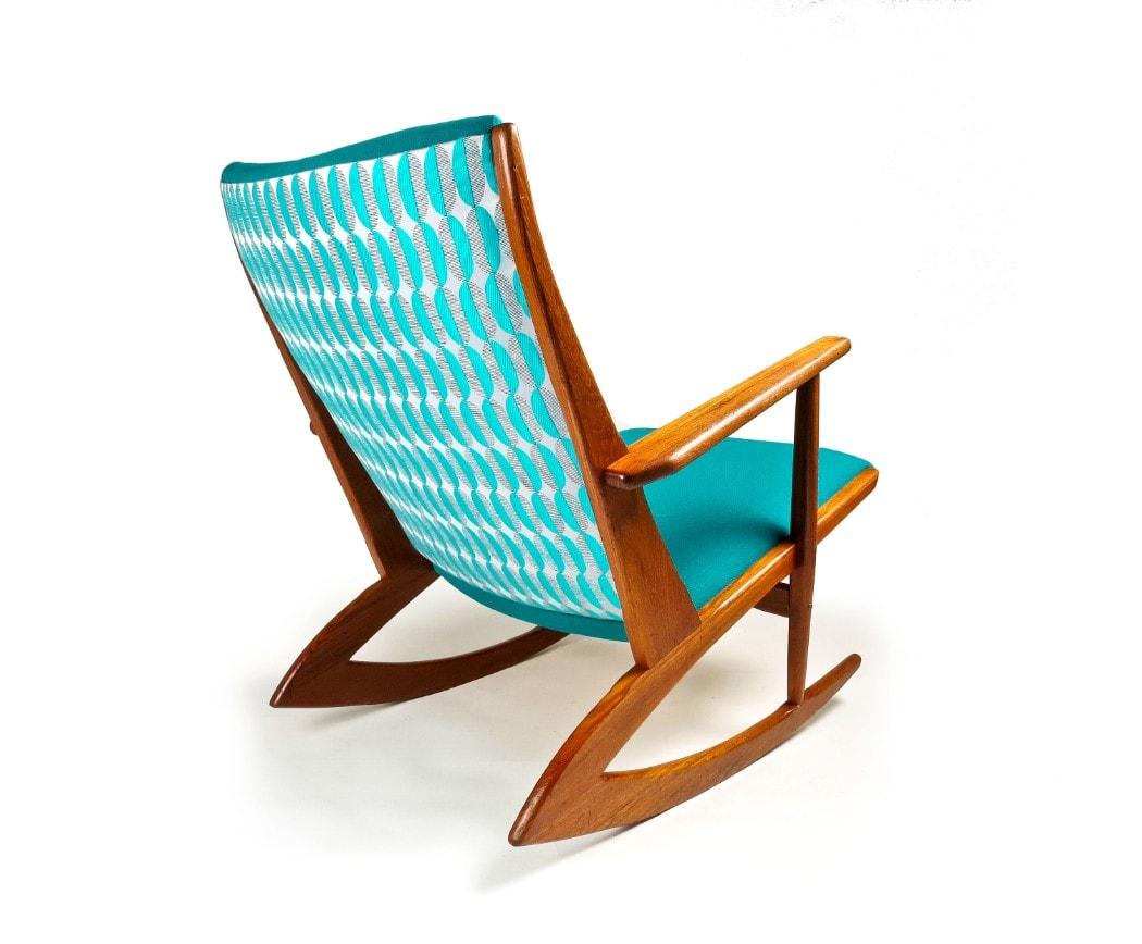 Osborne & Little Fabric mid century rocking chair teak Danish