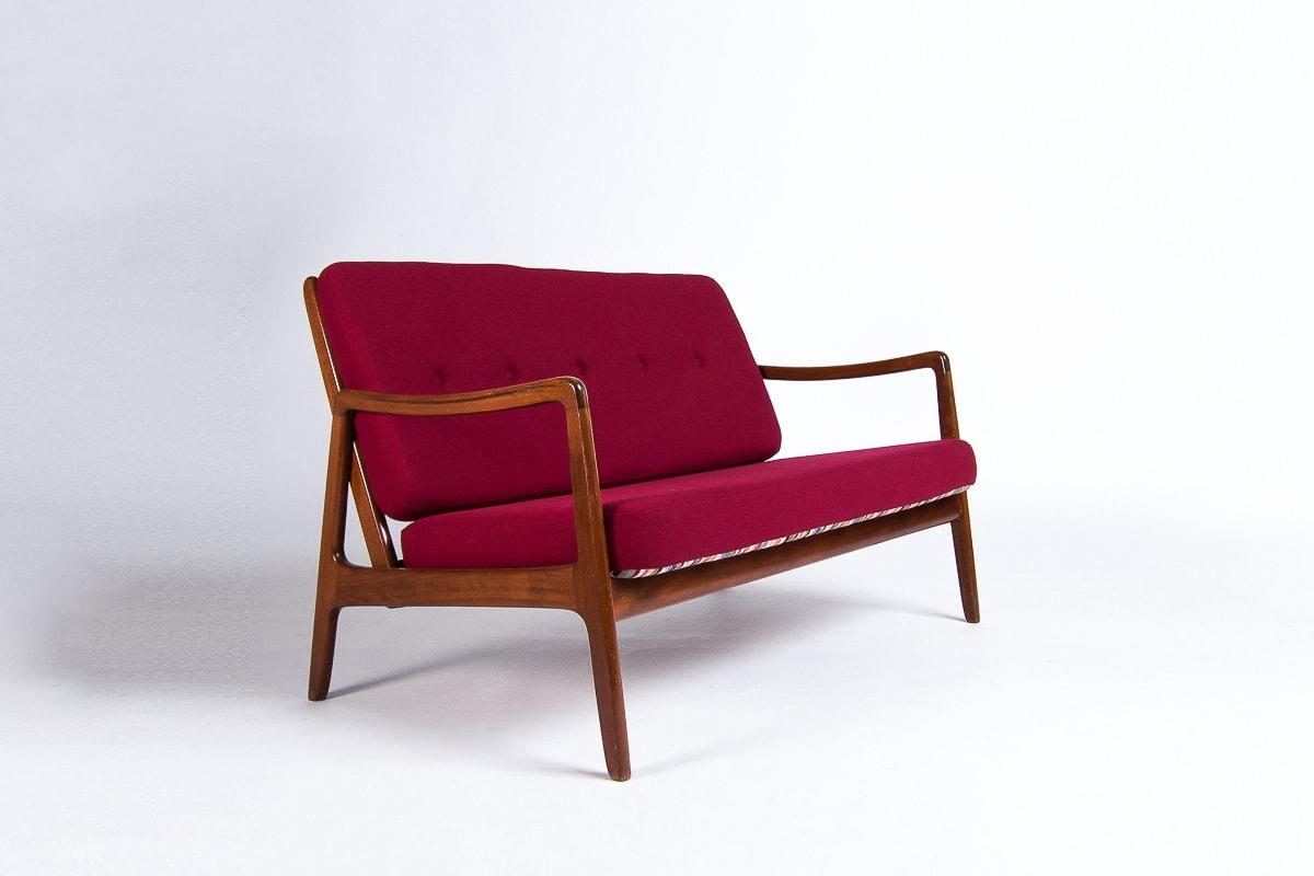 Mid century sofa teak wool Wanscher France son London