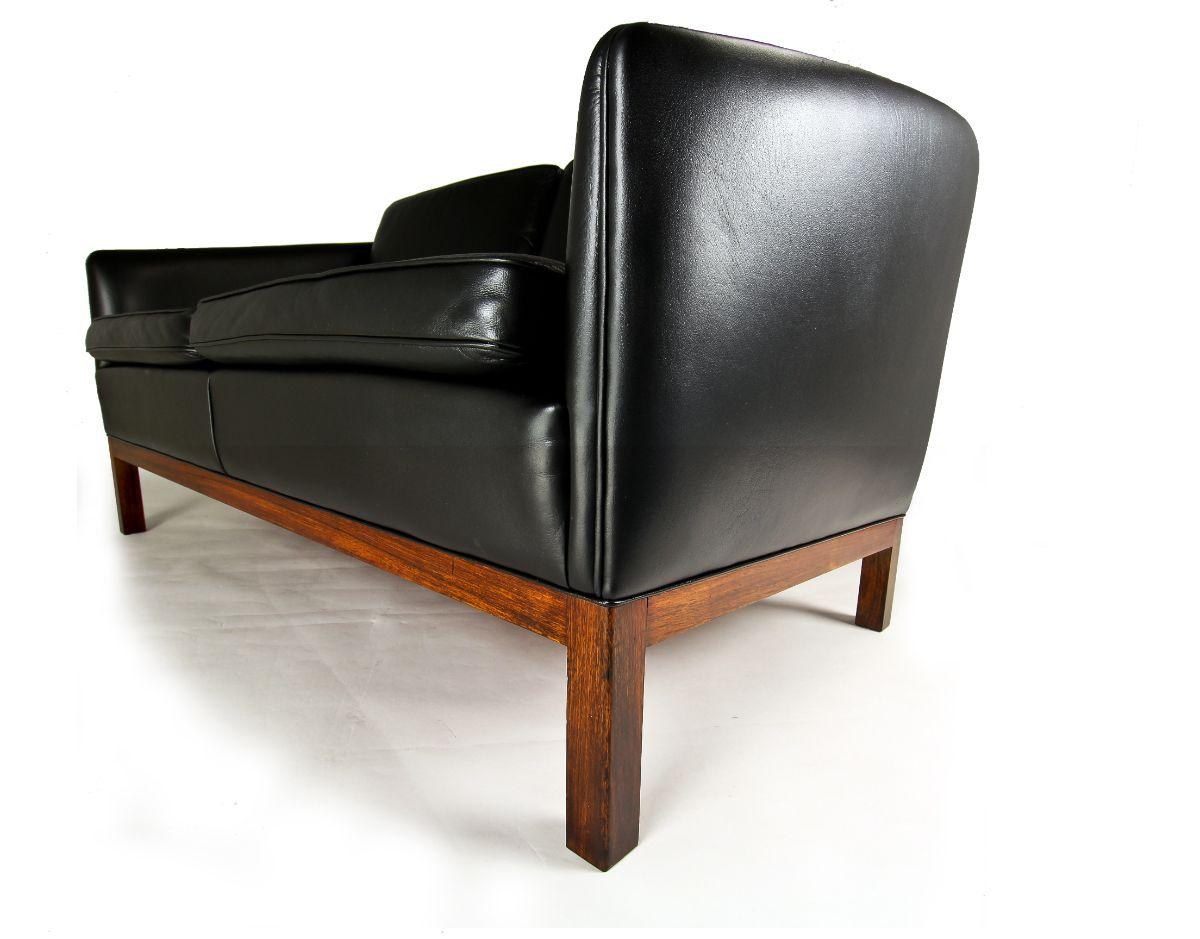 Mid century Danish sofa leather rosewood vintage furniture london