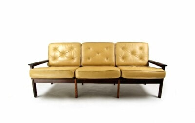 Capella sofa rosewood leather Illum Wikkelso mid century design 1950's