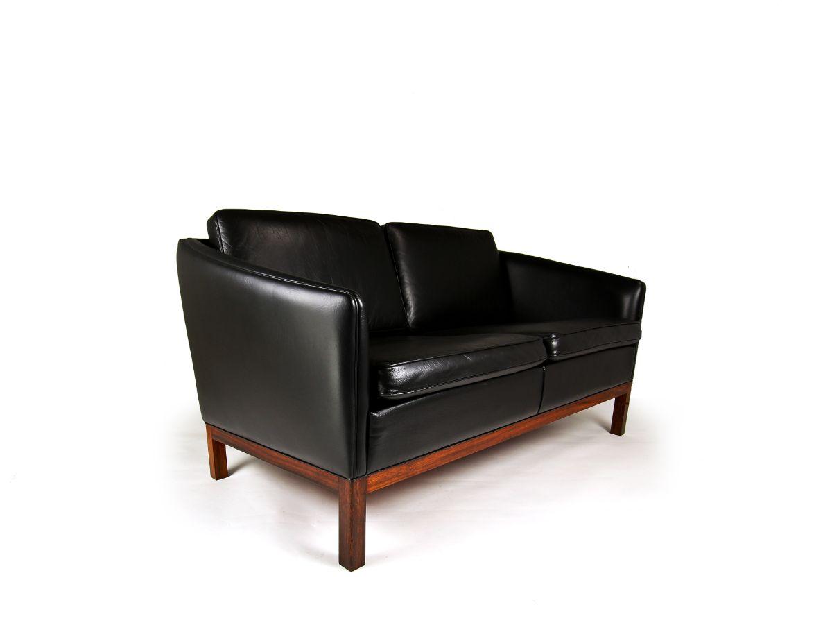 Mid century sofa UK leather rosewood Danish Wikkelso
