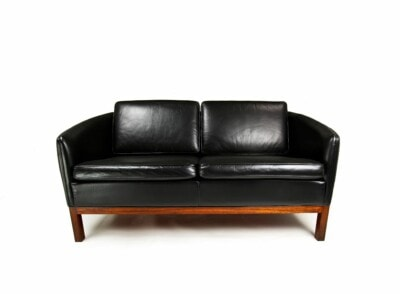 Danish design mid century sofa black leather rosewood wikkelso 1950's