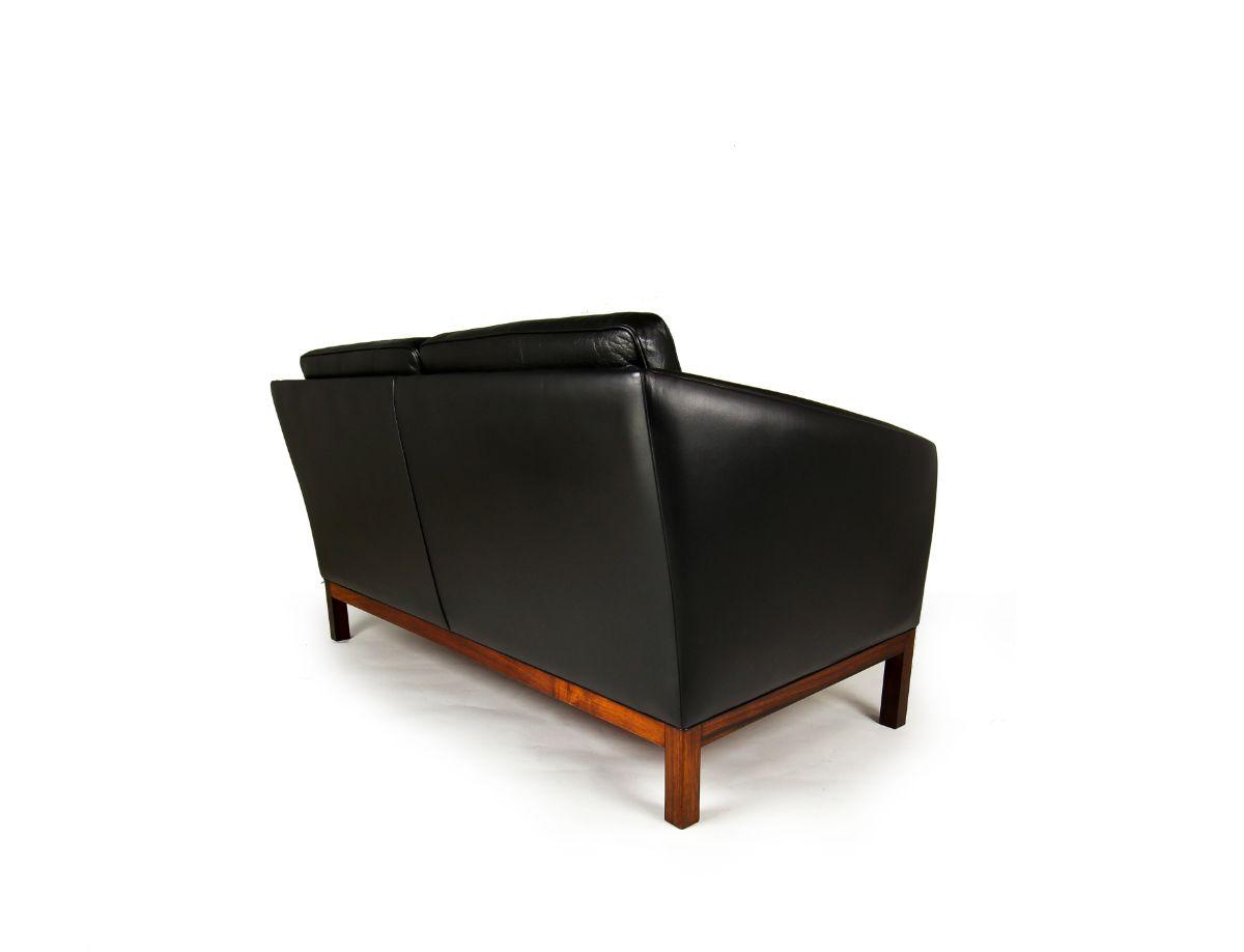 Mid century sofa leather rosewood Danish design 1950's