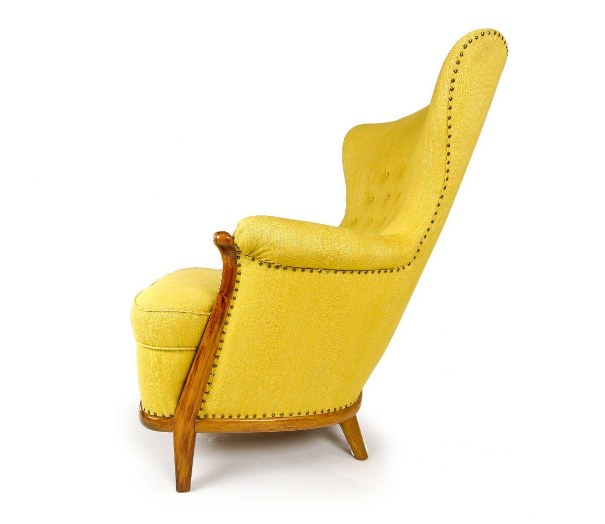 Yellow Wool chair mid century furniture Swedish chair 1950's