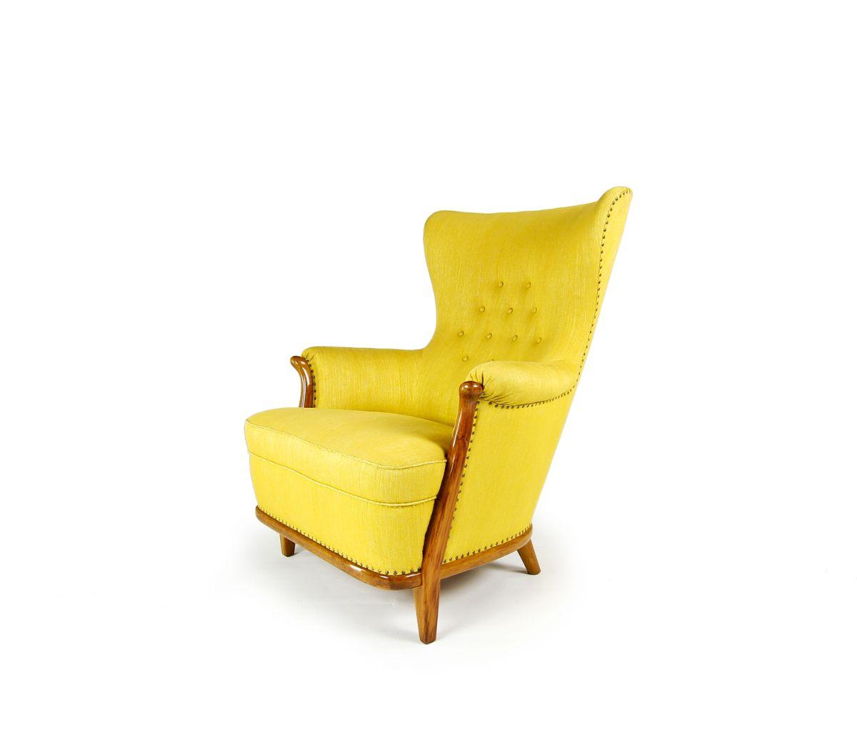 mid century modern furniture Swedish chair yellow wool 1950's