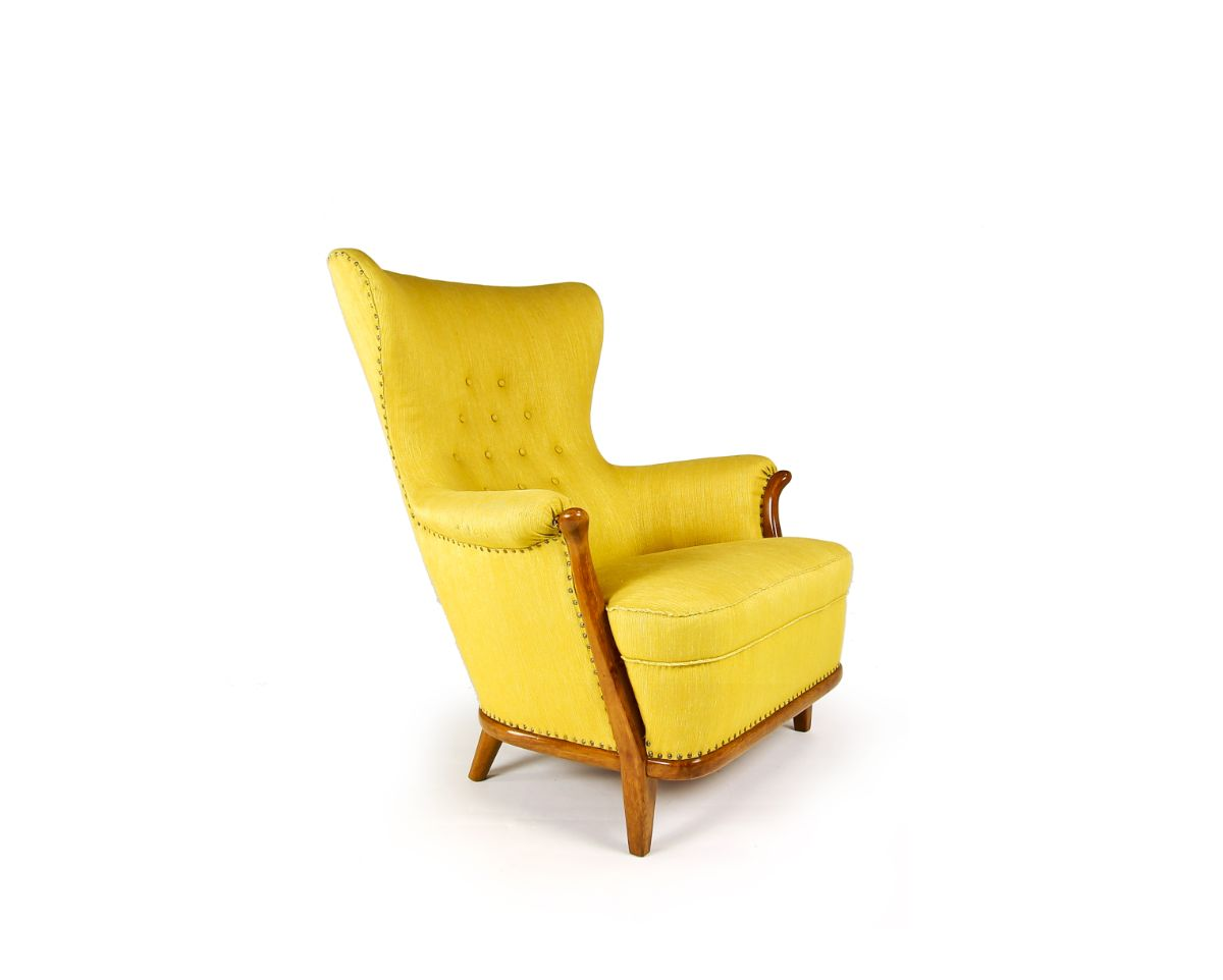 vintage furniture mid century furniture yellow chair walnut