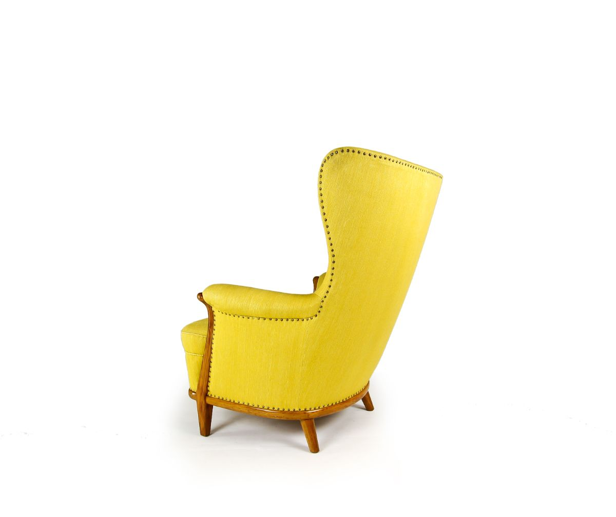 yellow armchair mid century furniture Scandinavian design 1950's