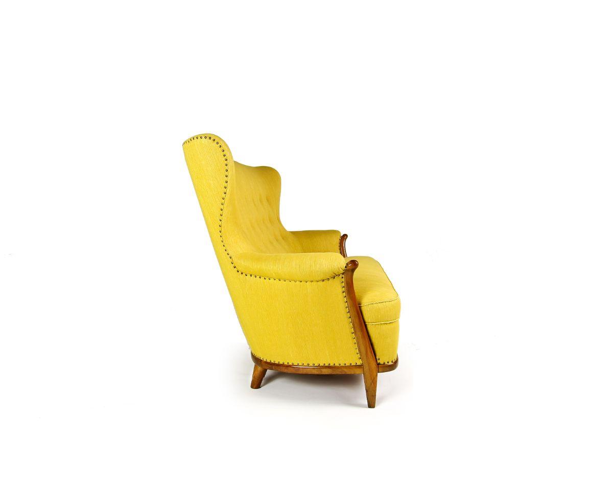 Danish sofa mid century modern UK yellow wool 1950's