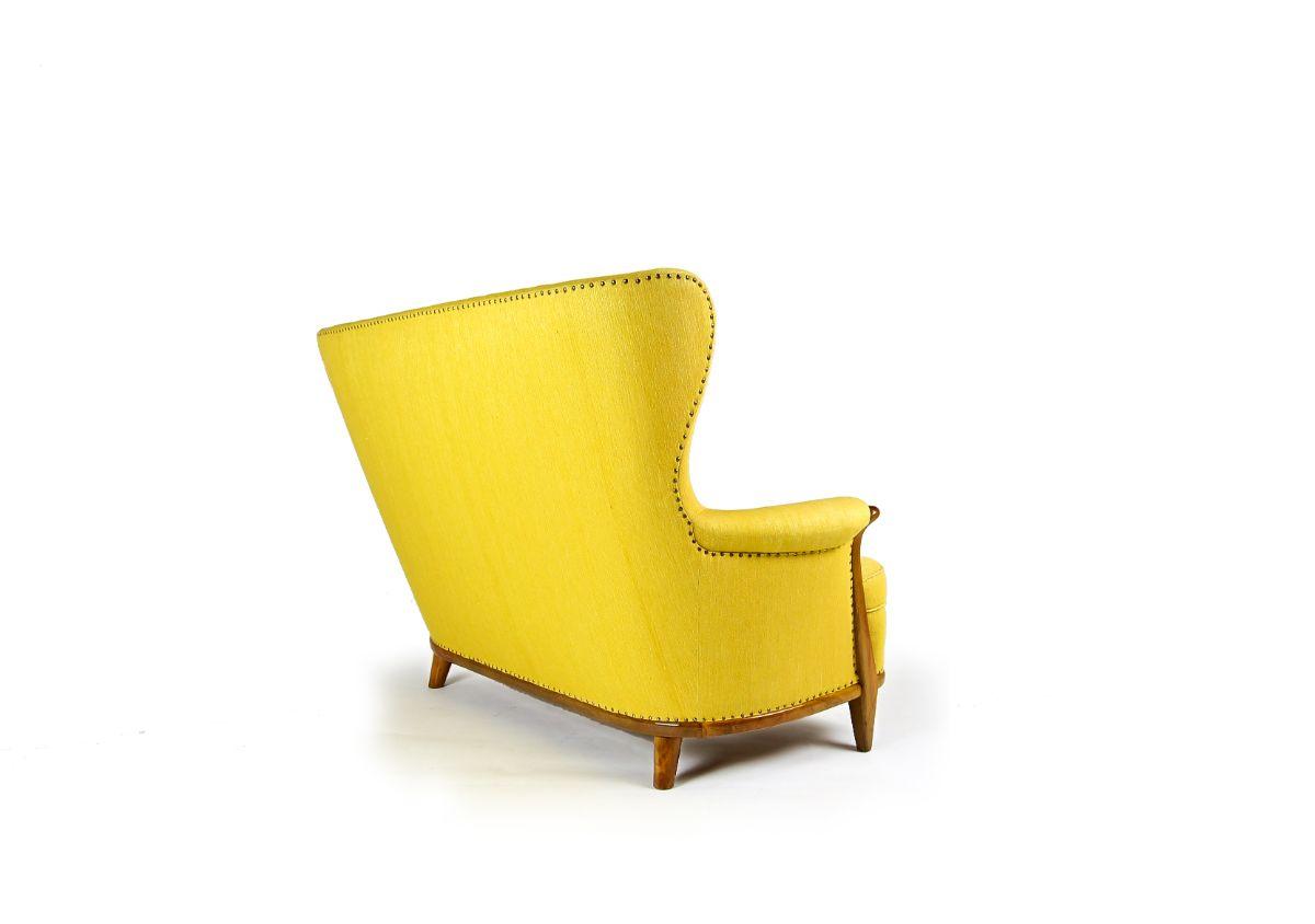 Yellow sofa mid century furniture London UK walnut 1950's